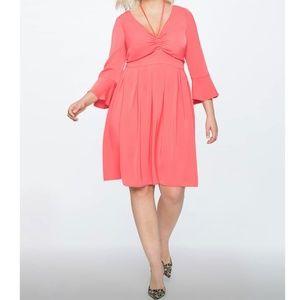 "NWT ""Plus"" Eloquii Coral Bell Sleeve Dress"